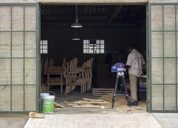 A local woodworker in his workshop